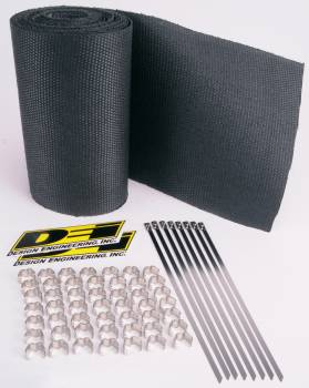"""Design Engineering - Design Engineering Speed Sleeves Exhaust Wrap 8"""" Wide 16 ft Roll Stainless Clips/Locking Ties Included - Woven Fiberglass"""