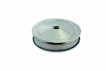 """Specialty Chrome - SPECIALTY CHROME High Dome Air Cleaner Assembly 10"""" Round 2"""" Element 5-1/8"""" Carb Flange - Raised Base"""