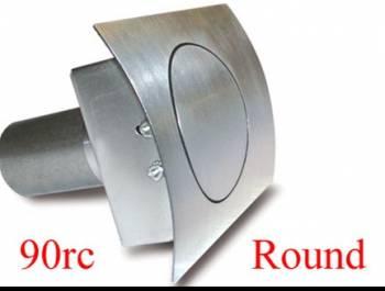 """Hagan Street Rod Necessities - Hagan Street Rod Necessities 3-1/2"""" Round Door Fuel Door 90 Degree Filler Spout Curved Surface Steel - Natural"""