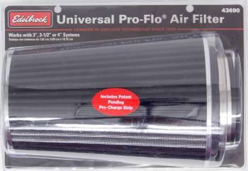 "Edelbrock - Edelbrock Pro-Flo Air Filter Element Conical 6"" Base 4-3/4"" Top Diameter - 10-1/2"" Tall - Chrome/Black"