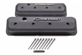 Proform Performance Parts - Proform Performance Parts Slant-Edge Valve Covers Tall Baffled Breather Hole - Raised Polished Chevrolet Logo - Black Crinkle