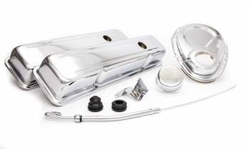 Racing Power - Racing Power Short Valve Covers/Breather/Dipstick/Grommets/Timing Cover/Timing Tab Engine Dress Up Kit Steel Chrome Small Block Chevy - Kit