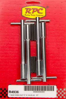 "Racing Power - Racing Power Stud Valve Cover Fastener 1/4-20"" Thread 1.375"" Long Wing Nuts - 5-3/8"" Long"