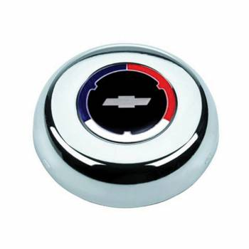 Grant Steering Wheels - Grant Steering Wheels Red/White/Blue Chevy Bowtie Logo Horn Button Steel Chrome Grant Classic/Challenger Series Wheels - Each