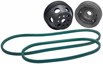 Allstar Performance - Allstar Performance 1 to 1 Pulley Kit 2 Groove V-Belt Billet Aluminum Natural - Small Block Chevy