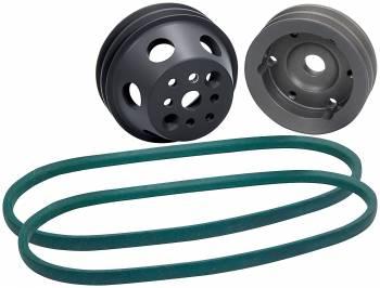 Allstar Performance - Allstar Performance 1 to 1 Pulley Kit 2 Groove V-Belt Billet Aluminum Natural - Small Block Chevy