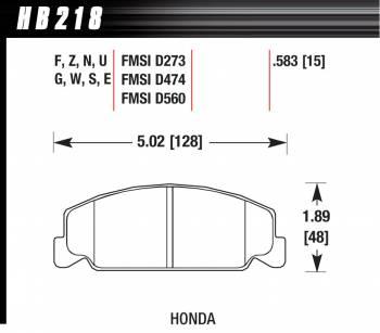 Hawk Performance - Hawk Performance Blue 9012 Compound Brake Pads Low-Intermediate Torque Low-Mid Temperature Honda® 1984-2000 - Set of 4