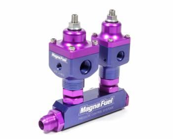 MagnaFuel - MagnaFuel Two Regulators Nitrous Oxide Fuel Pressure Regulator Kit Fuel Block Fittings Aluminum - Purple Anodize