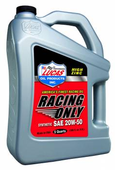 Lucas Oil Products - Lucas Oil Products Racing Motor Oil ZDDP 20W50 Synthetic - 5 qt