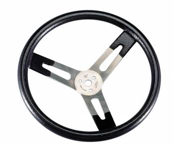 "Sweet Manufacturing - Sweet Manufacturing 16"" Diameter Steering Wheel 3 Spoke Flat Black Rubberized Grip - Aluminum"