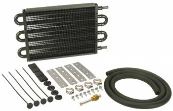 "Derale Performance - Derale Performance 12-3/4 x 7-5/8 x 3/4"" Fluid Cooler Tube Type 11/32"" Male Hose Barb Aluminum/Copper - Black Paint - Automatic Transmission"