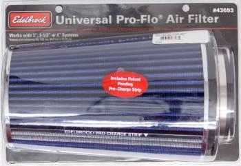 "Edelbrock - Edelbrock Pro-Flo Air Filter Element Conical 6"" Base 4-3/4"" Top Diameter - 10-1/2"" Tall - Chrome/Blue"