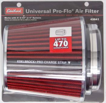 "Edelbrock - Edelbrock Pro-Flo Air Filter Element Conical 6"" Base - 4-3/4"" Top Diameter - 6-3/4"" Tall - Chrome/Red"