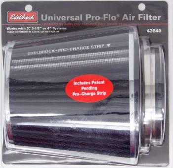 "Edelbrock - Edelbrock Pro-Flo Air Filter Element Conical 6"" Base - 4-3/4"" Top Diameter - 6-3/4"" Tall - Chrome/Black"