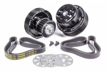 Jones Racing Products - Jones Racing Products 5 Rib Serpentine Pulley Kit Aluminum Black Anodized Small Block Chevy - Kit