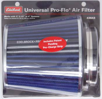 "Edelbrock - Edelbrock Pro-Flo Air Filter Element Conical 6"" Base - 4-3/4"" Top Diameter - 6-3/4"" Tall - Chrome/Blue"