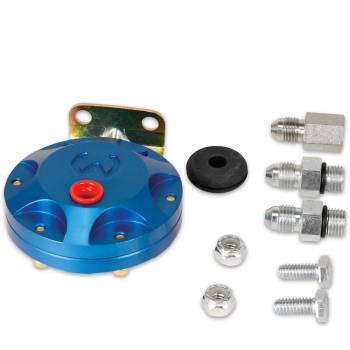 Mallory Ignition - Mallory Ignition 4 AN Fittings Fuel Pressure Isolator Up to 80 psi Billet Aluminum Blue Anodize - Mechanical Pressure Gauges