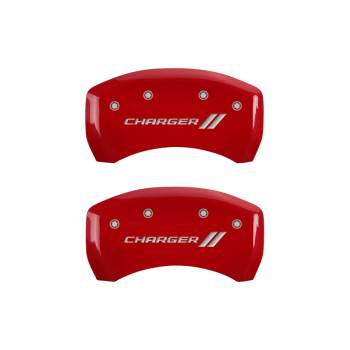 MGP Caliper Covers - Mgp Caliper Cover Charger Script Logo Brake Caliper Cover Aluminum Red Dodge Charger 2011-16 - Set of 4