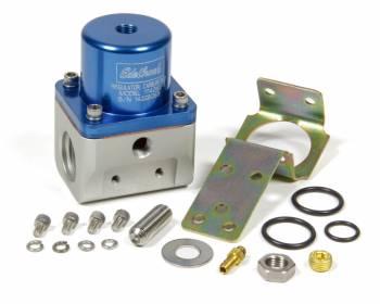 Edelbrock - Edelbrock 5-10 psi Fuel Pressure Regulator Inline 10 An Inlets/Outlet 6 AN Return - Bypass - Blue Anodize