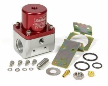 Edelbrock - Edelbrock 5-10 psi Fuel Pressure Regulator Inline 10 An Inlets/Outlet 6 AN Return - Bypass - Red Anodize
