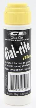 Clear 1 Racing - Clear 1 Racing Dial-Rite Dial-In Marker Window Yellow Safe on Glass/Polycarbonate/Rubber - 1 oz Bottle/Applicator