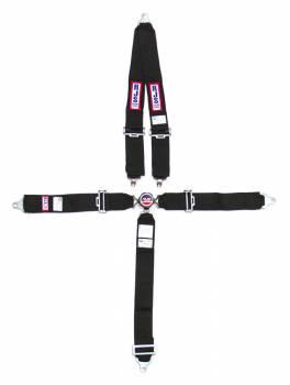 "RJS Racing Equipment - RJS 5-Point Quick Release Camlock Restraint System - Roll Bar Mount Shoulder Harness - 3"" Anti-Submarine Belt - Black"