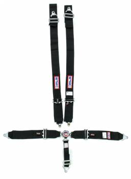 "RJS Racing Equipment - RJS 5-Point Quick Release Camlock Harness System - Black - Individual Shoulder Harness - Bolt it Lap - 2"" Anti-Submarine Belt"