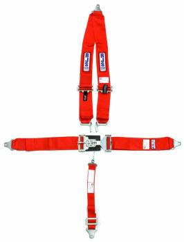 """RJS Racing Equipment - RJS 5-Point Latch Type Restraint System - Bolt-In - Roll Bar Mount Shoulder Harness - 2"""" Anti-Submarine Strap - Red"""