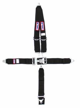"RJS Racing Equipment - RJS 5-Point Restraint System - Bolt-In - Roll Bar Mount Shoulder Harness - 3"" Anti-Submarine Strap - Black"