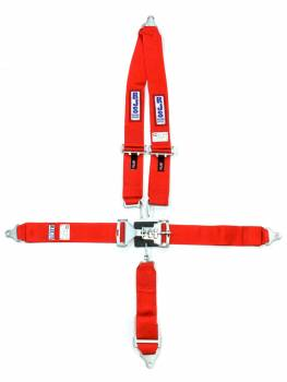 "RJS Racing Equipment - RJS 5-Point Restraint System - Bolt-In - Roll Bar Mount Shoulder Harness - 3"" Anti-Submarine Strap - Red"
