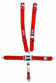"RJS Racing Equipment - RJS 5-Point Restraint System - Individual Shoulder Harness - Bolt-In Mount - 2"" Anti-Sub - Red"