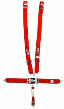 "RJS Racing Equipment - RJS 5-Point Restraint System - Individual Shoulder Harness - Wrap Around Mount Shoulder Harness (Only) - Bolt-In Seat Belt - 2"" Anti-Sub - Red"