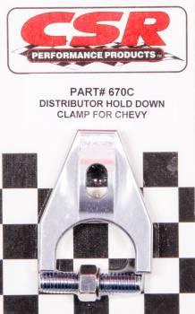 CSR Performance Products - CSR Performance Distributor Hold Down Clamp - SB Chevy, BB Chevy, 4.3 V6 - Clear