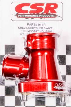 CSR Performance Products - CSR Performance 360 Swivel Thermostat Housing w/ Filler Neck - Chevy V8 - 11/2 Hose - Red