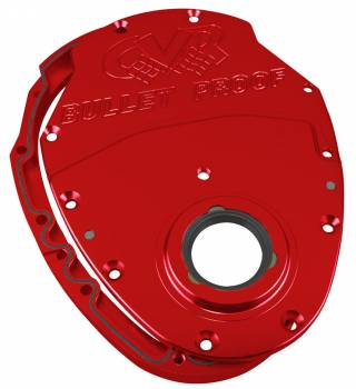 CVR Performance Products - CVR Performance High Performance Billet Aluminum Timing Cover - 2-Piece - Red Anodized - SB Chevy