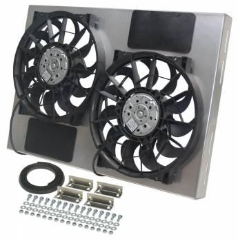 """Derale Performance - Derale High Output Dual 12"""" Electric RAD Fan/Aluminum Shroud Kit - 25-5/8""""W x 17-1/8""""H x 4""""D"""