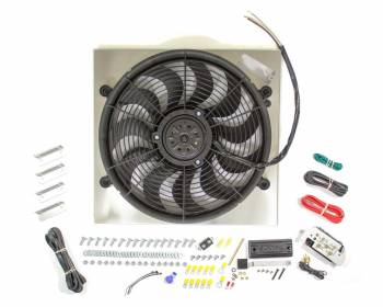 "Derale Performance - Derale High Output Single 17"" Electric RAD Fan/Aluminum Shroud Kit w/ Built-in PWM Controller - 18-3/4""W x 17-5/8""H x 3""D"