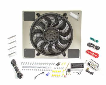 "Derale Performance - Derale High Output Single 14"" Electric RAD Fan/Aluminum Shroud Kit w/ Built-in PWM Controller - 20""W x 16-3/8""H x 2-3/4""D"
