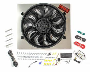 "Derale Performance - Derale High Output Single 17"" Electric RAD Fan/Aluminum Shroud Kit w/ Built-in PWM Controller - 20-3/4""W x 17-5/8""H x 3""D"