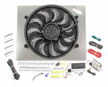 "Derale Performance - Derale High Output Single 17"" Electric RAD Fan/Aluminum Shroud Kit w/ Built-in PWM Controller - 22-1/4""W x 17-5/8""H x 3""D"
