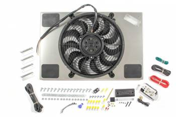 "Derale Performance - Derale High Output Single 14"" Electric RAD Fan/Aluminum Shroud Kit w/ Built-in PWM Controller - 23-7/16""W x 15-7/16""H x 2-3/4""D"