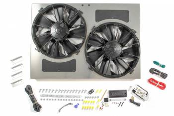 "Derale Performance - Derale High Output Dual 12"" Electric RAD Fan/Aluminum Shroud w/ Built-in PWM Controller - 26""W x 18""H x 4""D"