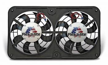 "Flex-A-Lite - Flex-A-Lite Dual 12"" Low Profile Electric Fan - 2500 CFM - Amp Draw: 19.5 - Adj. Thermostat 180°-240° - A/C Relay"
