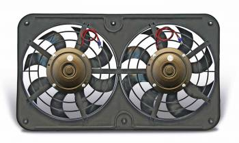"Flex-A-Lite - Flex-A-Lite Dual Pusher 12"" Low Profile Electric Fan - 2500 CFM - Amp Draw: 19.5 - Adj. Thermostat 180°-240° - A/C Relay"