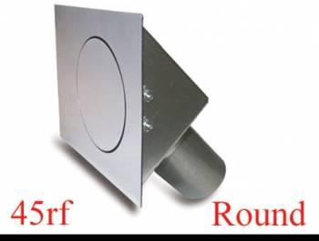 """Hagan Street Rod Necessities - Hagan Street Rod Necessities 3-1/2"""" Round Door Fuel Door 45 Degree Filler Spout Flat Surface Steel - Natural"""