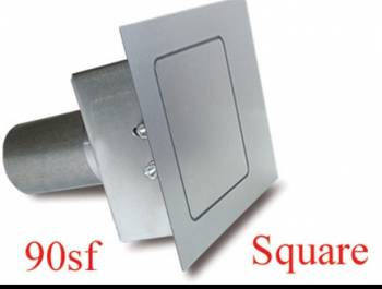 """Hagan Street Rod Necessities - Hagan Street Rod Necessities 3-1/2"""" Square Door Fuel Door 90 Degree Filler Spout Flat Surface Steel - Natural"""