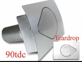 """Hagan Street Rod Necessities - Hagan Street Rod Necessities 4-3/4 x 3-1/2"""" Teardrop Door Fuel Door 90 Degree Filler Spout Curved Surface Steel - Natural"""