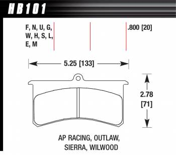 Hawk Performance - Hawk Performance Black Brake Pads - Fits Wilwood Superlite, Outlaw 3000, 4000, AP Racing SC200, 300
