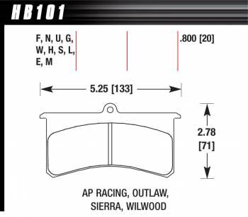 Hawk Performance - Hawk Performance HT-10 Brake Pads - Fits Wilwood Superlite, Outlaw 3000, 4000, AP
