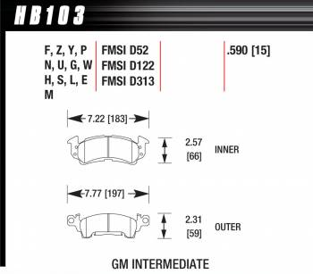 Hawk Performance - Hawk Performance Black Brake Pads - Fits Full Size GM Calipers